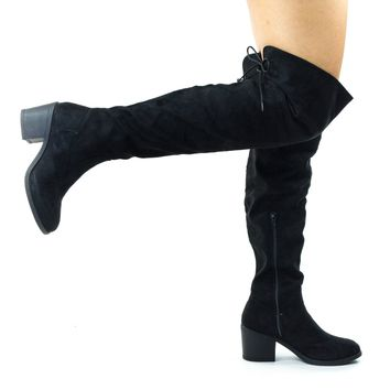 Louie05 Black Faux Suede by Bamboo, Faux Fur Inner Lining w Corset Lace Up Over Knee Thigh High  Block Heel