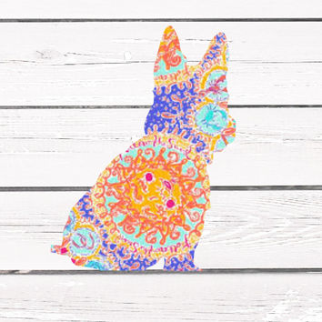 Lilly Pulitzer Yorkie, Yorkshire Terrier Decal For Yeti Tumblers, Cars, and Tech Devices