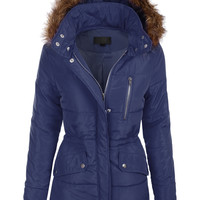 LE3NO Womens Quilted Fully Padded Puffer Jacket with Faux Fur Trim Hood