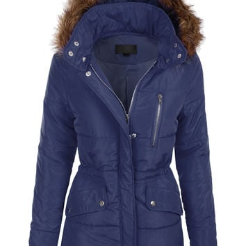 LE3NO Womens Quilted Fully Padded Puffer Jacket with Faux Fur Trim Hood (CLEARANCE)
