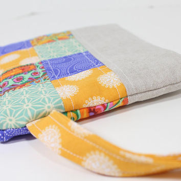 Patchwork Wristlet Purse Zipper Pouch with Strap and Interior Pocket, Designer Cotton Fabric with Linen Blend Flax Bottom