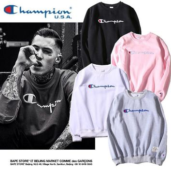 Champion Men and Women Stereoscopic embroidery Logo Tops Sweater Sweatshirts