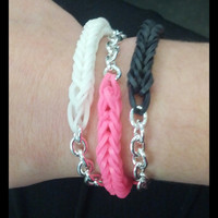 Loom band fish tail bracelet with silver chain