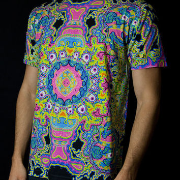 All Over Print Rave Shirt - EUPHORIA (Neon) by JOHN SPEAKER / Festival Clothing / Rave Clothing / Festival Shirt / Festival Outfit
