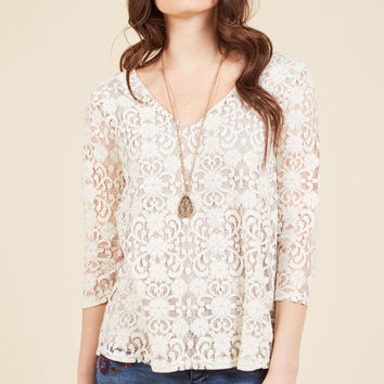 Of Ladylike Mind Lace Top in Ivory | Mod Retro Vintage Short Sleeve Shirts | ModCloth.com