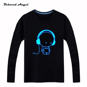 Beloved Angel Blu-ray New Design Kids Long Sleeves Tees Neon Print Shine Children Boys Girls T Shirt Darkness Luminous Clothing