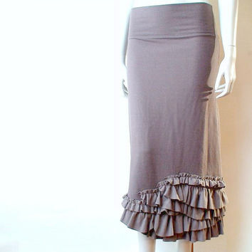 Ruffled hem long skirt - more colors