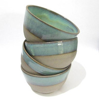Pottery Bowl, Ramen Bowl, Noodle Bowl, Cereal Bowl, Serving Bowls, Turquoise Green Ceramics, Handmade Kitchenware