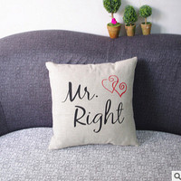 1PC MR MRS Couples Gift Linen Throw Pillow Case Fashion Cute Lover Sofa Cushion Pillow Covers Home Furniture Decor [8598476557]