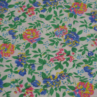 Vintage Fabric Bright Pink, Blue & Yellow Flower Pattern - 1 YARD 33 INCHES
