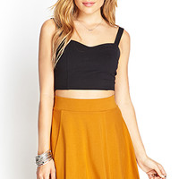 FOREVER 21 Cotton Jersey Skater Skirt Mustard Small
