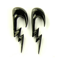 "Ear Plugs Lightning Piercing Earrings Horn Expanders Gauges  16g 14g 12g 10g 8g 6g 4g 2g 0g 00g 1/2"" - GA011 H"