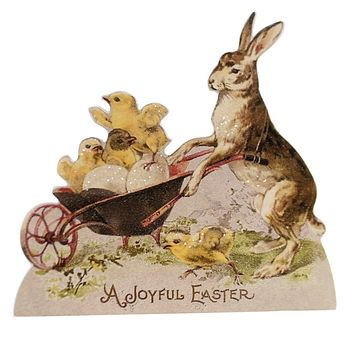 Easter RABBIT & CHICK DUMMY BOARD Wood Decoupaged Vintage Rl6566 Joyful