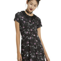 Black Floral & Bug Lace Collar Dress