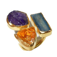 Citrine Ring - Amethyst Ring - Blue kyanite Ring - Adjustable Ring - Raw Stone Ring, Handmade Ring, 18K Gold Plated Ring, Natural Stone Ring