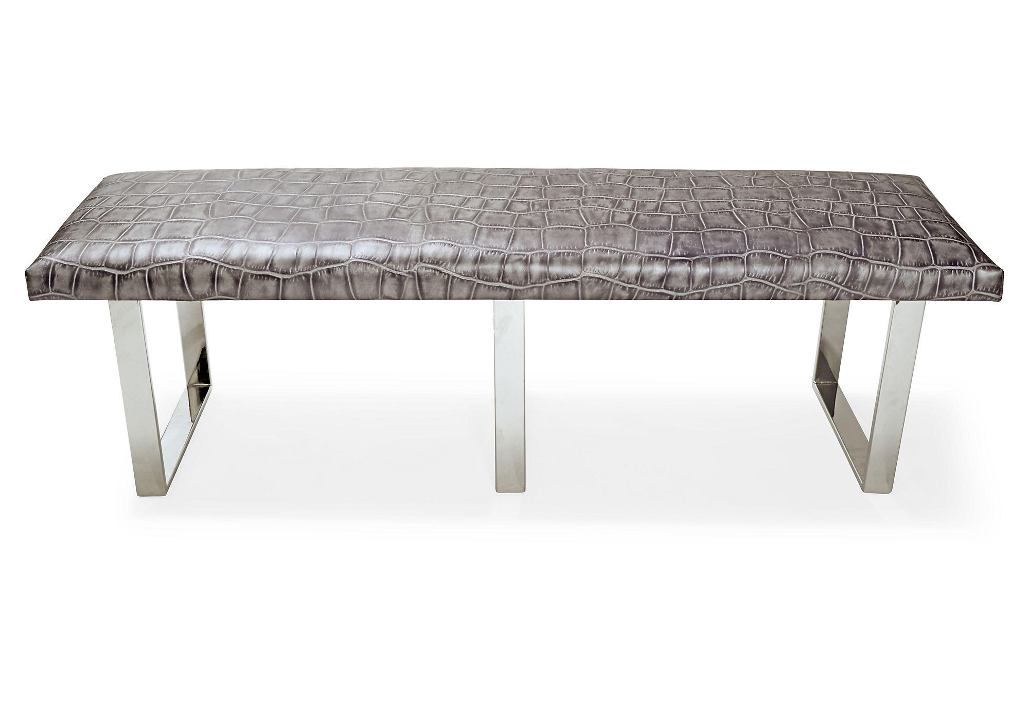 Gray Foyer Bench : Bebe leather bench gray entryway from one kings lane