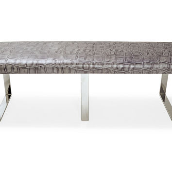 Bebe Leather Bench, Gray, Bedroom Bench