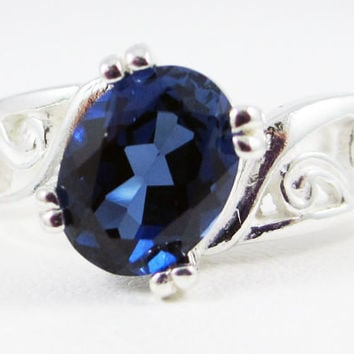 Blue Sapphire Oval Filigree Ring Sterling Silver, September Birthstone Ring, Blue Sapphire Filigree Ring, Sapphire Oval Ring, 925 Ring