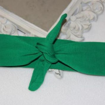 Green Adjustable Tie Knot Headband