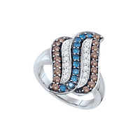Diamond Fashion Ring in 10k White Gold 0.91 ctw