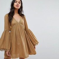 Lunik Bell Sleeve Tunic Dress With Trim at asos.com