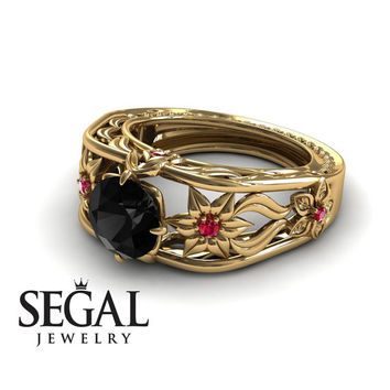 Unique Engagement Ring 14K Yellow Gold Flowers Leafs Vintage Art Deco Ring Black Diamond With Ruby - Alexis