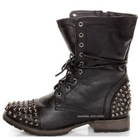 Womens Spike Studded Combat Military Boots Biker Distressed Chic Black Brown NEW