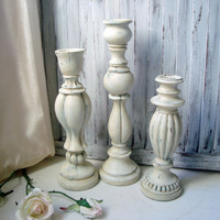 Antique White Distressed Candle Stick Holders, French Farmhouse Candleholders, Shabby Chic Decor, Set of 3 Painted Candle Stick Holders
