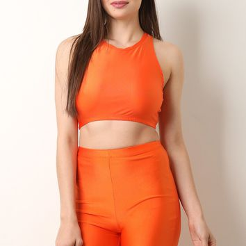 Shiny Stretch Knit Cutaway Crop Top with Biker Shorts Set