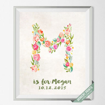 Nursery Art, Print, Megan, Custom Name, Personalized, Maria, May, Mabel, Mercy, Mae, Melissa, Monique, Gift, M, Baby, Initial, Girl [NO 117]