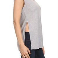 Casual Ribbed Knit V Neck Side Slit Open Sleeveless Tunic Blouse Tank Top