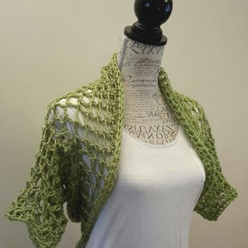 Crochet Sage green Shrug. Bolero. Made by Bead Gs on ETSY. ladies Size Medium. Summer top. Tank top Cover.