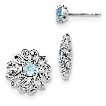 Sterling Silver Sky Blue Topaz Filigree Flower Stud Jacket Earrings