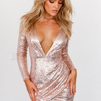 Infinite Night Dress (Rose Gold) | Xenia Boutique | Women's fashion for Less - Fast Shipping