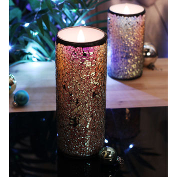 Glass Mosaic Flameless Moving Wick Wax Led Candle Lights With Timer,Home Decorations, 3X8 Inch