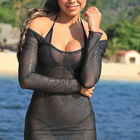 UjENA Sexy Sheer Sparkle A530 cover-up dress has a deep plunging neckline, long sleeves and is made from our shimmering sheer fabric One Pieces Swimwear Women's Swimsuit