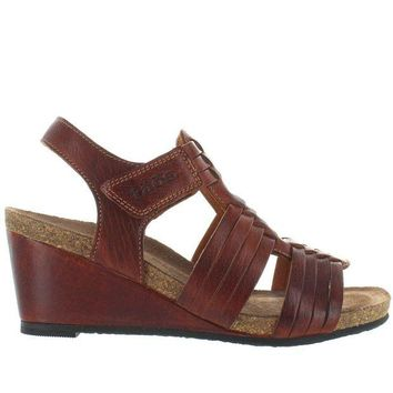 VONES2C Taos Tradition - Brown Leather Huarache-Style Wedge Sandal