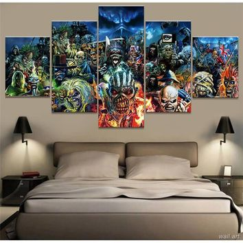 5 Panel Iron Maiden Band Rock Wall Art Canvas Music Poster