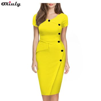 Oxiuly 2017 Summer Women Solid Black White Orange Green Dresses Casual O-Neck Bodycon Knee-Length Dress