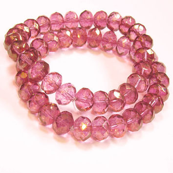 Czech Glass 6x10 Rondelles Tropical Flowers Magenta Copper Luster Beads