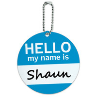 Shaun Hello My Name Is Round ID Card Luggage Tag