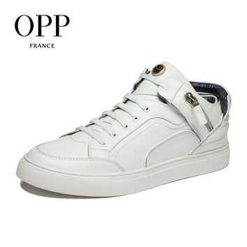 OPP men boots 2017 Genuine Leather shoes Winter Boots men Full Grain Leather Shoes Ank