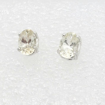 Clear Oregon Sunstone Earrings - Very Pale Champagne Sterling Silver Post Earrings - Oregon Diamonds Oregon Sunstone Stud Earrings