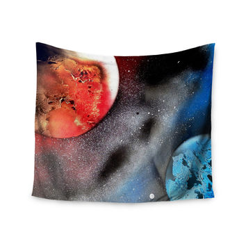 "Infinite Spray Art ""Sun VS. Moon"" Planet Wall Tapestry"