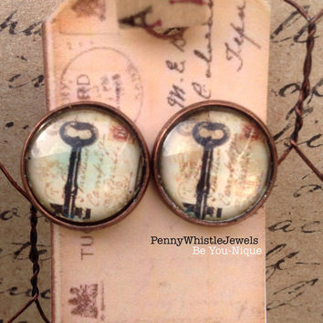 Key Stud Earrings, Stud Earrings, Key Jewelry, Gift For Her, Copper Stud Earrings, Vintage Style, Steampunk Earrings, Steampunk Style