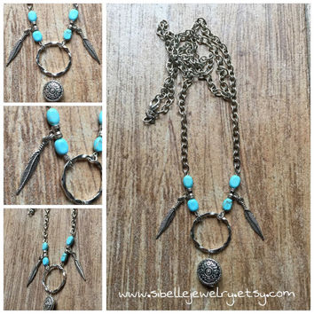 Handmade silver and aqua beaded feather necklace / long necklaces / southwestern necklace / boho chic / hippie / gypsey
