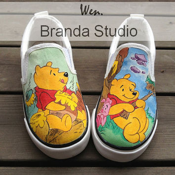 Christmas Gifts-Pooh-Sneakers,Hand Painted Shoes Cartoon Slip-on Shoes,Custom Shoes,Kids Shoes,Custom Kids-Cartoon Shoes,Flat Shoes