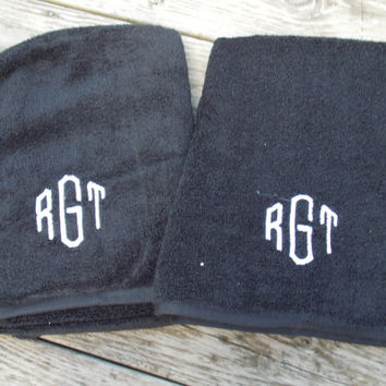 Monogrammed Bath Towel Set, Monogrammed Towel Set, Monogrammed Hand Towels, Couples Gift, Birthday Gift, Personalized Gift, Dorm Towel
