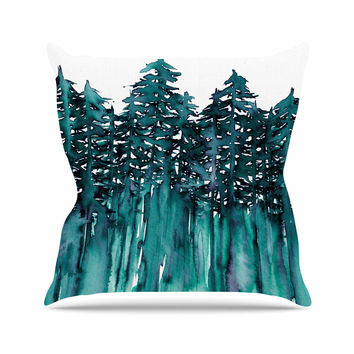 "Ebi Emporium ""Forest Through The Trees 5"" Teal White Throw Pillow"