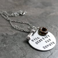 Will Deadlift For Donuts Necklace, Chocolate Sprinkle Doughnut and Dumbbell Charm, Deadlifts Lift weights IIFYM Macros, Beastmode Jewelry